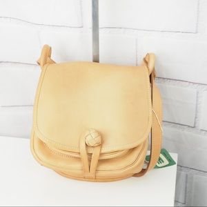 Natural leather tan front flap shoulder bag NWT